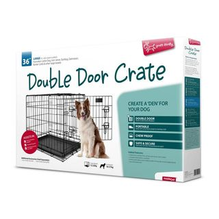 Yours Droolly Double Door Dog Crate 36