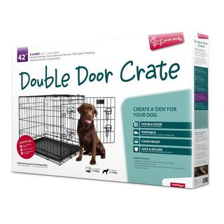 Yours Droolly Double Door Dog Crate 42