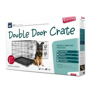 Yours Droolly Double Door Dog Crate 48
