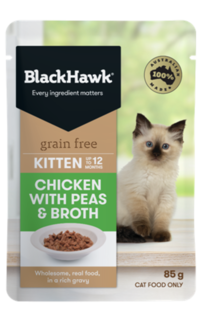 Black Hawk Grain Free Wet Kitten Food Chicken with Peas 58g