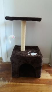 Brown cat scratching post/climber and house with platform and play mouse