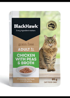 Black Hawk Wet Cat Food - Grain Free Chicken Pea Broth 85g
