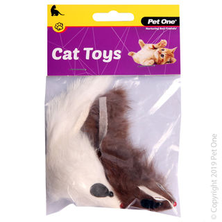 Toy Mouse 2pk 5cm Brown White
